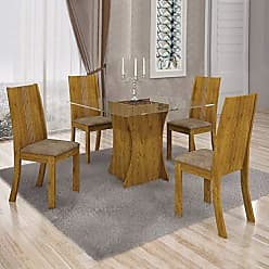 Leifer Conjunto Sala de Jantar Mesa Tampo Vidro 4 Cadeiras Vitória Leifer Canela/Animale Capuccino