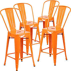 Flash Furniture 4 Pk. 24 High Orange Metal Indoor-Outdoor Counter Height Stool with Back