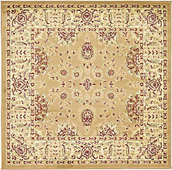 Unique Loom Voyage Collection Traditional Oriental Classic Tan Square Rug (4 x 4)