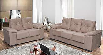 Cama inBox Conjunto de Sofá San Marino 3 e 2 Lugares Tecido Suede Amassado Castor - Moveis Marfim