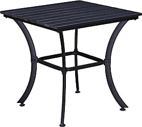 Oakland Living Curved Leg Square Indoor/Outdoor Faux Wood and Steel Patio Dining Table - 904-TABLE-BK