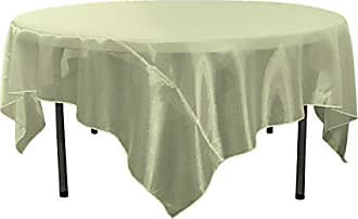 LA Linen Sheer Organza Square Tablecloth, Sage, 72 by 72