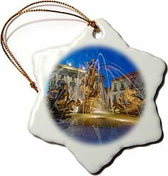 3D Rose Danita Delimont - Fountains - Europe, Italy, Sicily, Syracuse, Twilight Piazza Archimede - 3 inch Snowflake Porcelain Ornament (ORN_277639_1)