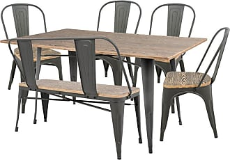 LumiSource Oregon 6 Piece Industrial Dining Set - DS-OR6 GY+BN