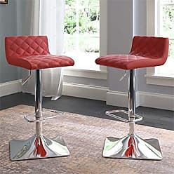 CorLiving DPU-951-B Adjustable Barstool in Red Bonded Leather, set of 2