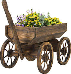 Best Choice Products Wooden Garden Flower Planter Wagon w/ Wheels - Brown