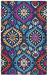 Rizzy Home Zingaro Collection Wool Navy/Fushia/Teal/Ivory/Orange/Gold/Mint Medallion Area Rug 26 x 8