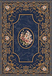 Milliken Carpet 4000032204 Pastiche Collection Montfleur Round Area Rug, 77 x 77, Phantom blue