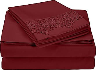 Superior 100% Brushed Microfiber Wrinkle Resistant King Sheet Set, 4-Piece, Burgundy