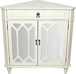 Heather Ann Creations The Dorset Collection Contemporary Style Wooden Double Door Floor Storage Living Room Corner Cabinet with Hexagonal Mirror Inserts and 1-Drawer, Antique White