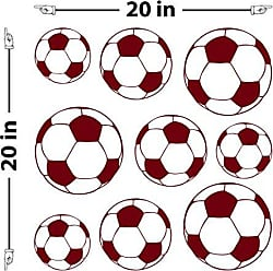 The Decal Guru Soccer Balls Wall Decal (Burgundy, 20 (H) X 20 (W))