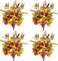Admired by Nature GPB126-MIXED 4 Piece Halloween/Thanksgiving Decoration Arrangement Artificial Pumpkins/Berries/Leaves Filler Fall Harvest Bush, 21, Autumn