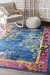 nuLOOM YKNV11A Nia Floral Chinese Art Deco Rug, 5 x 8, Blue