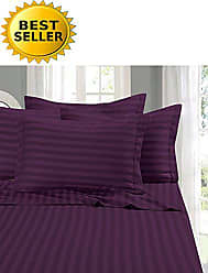 Elegant Comfort 1 Bed Sheet Set on Amazon - Super Silky Soft - 1500 Thread Count Egyptian Quality Luxurious Wrinkle, Fade, Stain Resistant 6-Piece Stripe Bed Sheet Set, California King Purple