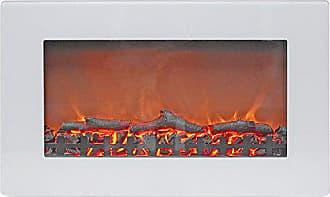 Cambridge Silversmiths CAM30WMEF-2WHT Callisto 30 In. Wall-Mount Electric Fireplace in White with Realistic Log Display