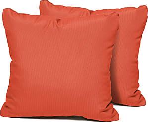 TK Classics Tangerine Outdoor Throw Pillows Square Set of 2