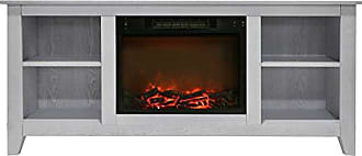 Cambridge Silversmiths CAM6226-1WHT Santa Monica 63 In. Electric Fireplace & Entertainment Stand in White w/ 1500W Charred Log Insert