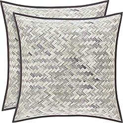 Five Queens Court Haven 20 Square Basket Weave Chevron 100% Twill Cotton Throw Pillow, Lavender, 20x20