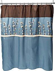 Lush Décor Triangle Home Fashions 19259 Lush Decor Cocoa Flower Shower Curtain, 72 X 72 Inches, Blue/Brown