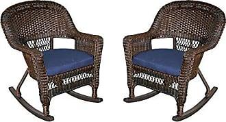 Jeco W00201R-A_2-FS011 Rocker Wicker Chair with Blue Cushion, Set of 2, Espresso