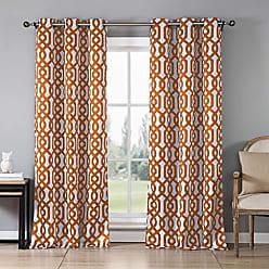 Duck River Textile Blackout365 Ashmont Heavy Geometric Insulated Blackout Room Darkening Window Curtain Set of 2 Panels, W38 X L84, Orange