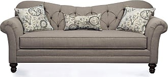Round Hill Furniture Metropolitan Dark Beige Fabric Upholstery Wood Frame Sofa with Pillows - LHU8750S-AS