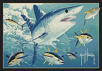 Milliken Carpet Milliken 4000058843 Guy Harvey Mako Shark Area Rug, 78 x 109, Blue