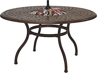 DARLEE Outdoor Darlee Series 60 Cast Aluminum 52 in. Round Dining Table with Ice Bucket Insert, Patio Furniture - 201060-DQ-AB