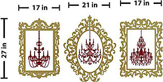 The Decal Guru Chandelier Picture Frames Wall Decal (Gold & Burgundy, 21 (H) X 27 (W))