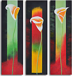 Omax Decor Upstaged Lilies 3-Piece Oil Painted Wall Art Set - M 3014