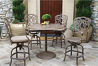 DARLEE Outdoor Darlee Florence 5 Piece Aluminum Counter Height Round Patio Dining Set - 201020-5PC-60CF-AB