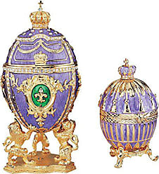 Design Toscano Tassel and Fleur-de-Lis Romanov Style Collectible Enameled Eggs, 6 Inch and 3 Inch, Set of Two, Pewter, Purple and Gold