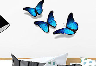 Wallmonkeys Three Blue Butterflies Flying Wall Decal Peel and Stick Graphic WM2755 (18 in W x 12 in H)