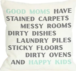 One Bella Casa Good Moms Happy Kids Throw Pillow by OBC, 18x 18, Ivory/Aqua