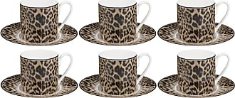 Roberto Cavalli Jaguar Espresso Cups & Saucers - Set of 6