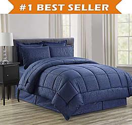 Elegant Comfort Luxury Bed-in-a-Bag Comforter Set on Amazon! Elegant Comfort Wrinkle Resistant - Silky Soft Beautiful Design Complete Bed-in-a-Bag 8-Piece Comforter Set -Hypoallergenic- King Navy Blue