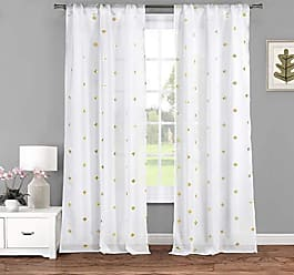 Duck River Textile Lala + Bash Becca Metallic Clover Pole Top Window Curtain Drapes for Bedroom, Livingroom, Kids Room, Children, Nursery-Assorted Colors-Set of 2 Panels, 38 x 84 Inch, White & Gold