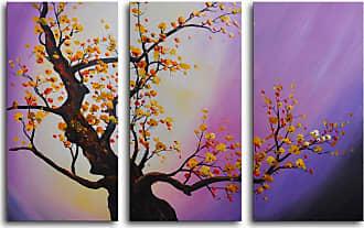 Omax Decor Autumn Leaves Purple Aura 3-Piece Canvas Wall Art - 36W x 24H in. - M 2019