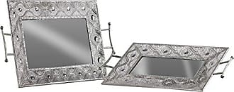 Urban Trends Collection Urban Trends Rectangular Tray with Mirror Surface, Pierced Metal Design Side Handles Set of Two Polished Chrome Finish Silver