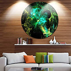 DESIGN ART Designart Wings of Angels Green in Black Abstract Digital Circle Wall Art - Disc of 38 inch 38x38-Disc