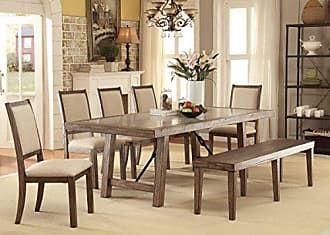 FURNITURE OF AMERICA 6 Piece Acheson Industrial Style Dining Set, Weathered Elm