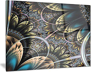 DESIGN ART Designart Symmetrical Dark Orange Fractal Flower-Digital Art Metal Wall Art-MT7290-28x12, 12 H x 28 W x 1 D 1P