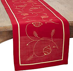 Red 70196.R1670B 16 by 70-Inch SARO LIFESTYLE 70196 1-Piece Snow Crystal Runner Oblong Tablecloth