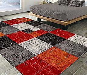 Ottomanson CIT3121-5X7 City Collection Modern Area Rug, 53 X 73, Red-Orange Checkered