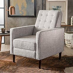 GDF Studio Christopher Knight Home 300596 Macedonia Mid Century Modern Tufted Back Light Grey Tweed Fabric Recliner