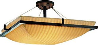Justice Design Group PNA-9782 - Ring 24 in. Square Semi-Flush Bowl Waterfall Shade - PNA-9782-25-WFAL-DBRZ-LED5-5000