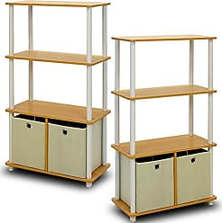 Furinno 2-NW889BE Go Green 4-Tier Multipurpose Storage Rack Shelving Unit with Bins (Set of 2), Beech