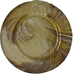 10 Strawberry Street Cyclone 13 Glass Charger Plate, Set of 4, Beige/Gold