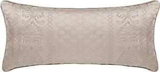 Five Queens Court Zarah Satin Damask Embroidered Boudoir Throw Pillow, Taupe