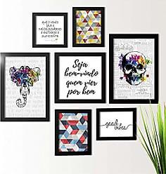 Los Quadros Kit de Quadros Decorativos 7 Peças Frases Los Quadros Preto
